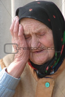 Old Ukrainian country sad granny portrait1