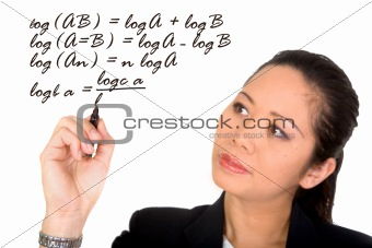 asian girl solving a mathematical formula