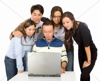 students on a laptop