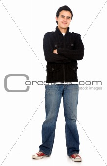 Casual man standing on white