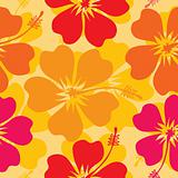 Hibiscus seamless pattern, vector