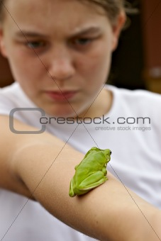 green tree frog on girls arm