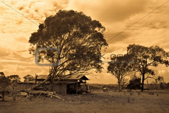 old farm in sepia