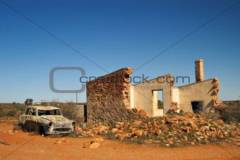 old car and ruins in outback australia