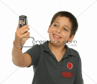 Boy taking a photo with a cell phone