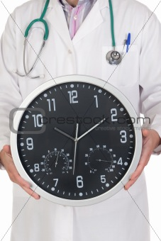 Doctor with big clock