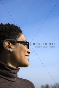 Profile of Smiling Young Black Woman