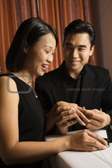 Attractive Young Couple Getting Engaged