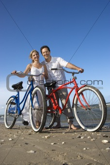 Couple with Bikes at the Beach