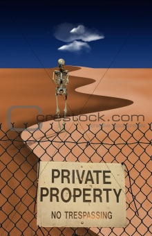 Skeletal Figure in Desert