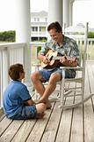 Father and Son on Porch