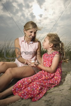 Mother and Daughter at the Beach