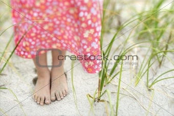 Little Girls Feet in the Sand
