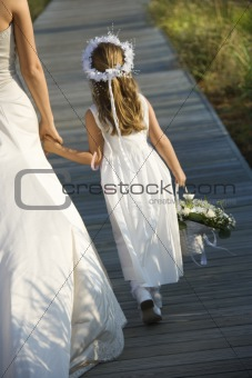 Bride and Flower Girl on Boardwalk