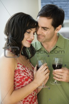 Couple Drinking Red Wine