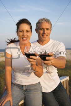 Couple Drinking Wine on Beach