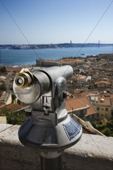 Pay Telescope and City Skyline