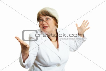 Adult businesswoman over white background