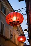 Red Paper Lanterns Hanging on Building