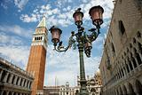 Street Lamp and Bell Tower at St Mark&#39;s Basilica