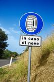 Sign on Rural Road in Italy
