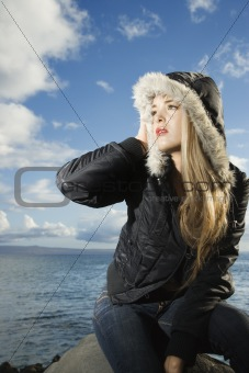 Attractive Young Woman by Ocean