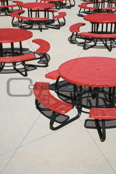 Red Circular Cafeteria Tables