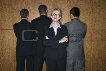 Businesswoman with Businessmen