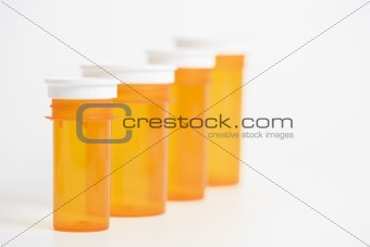 Empty Yellow Medicine Bottles. Isolated