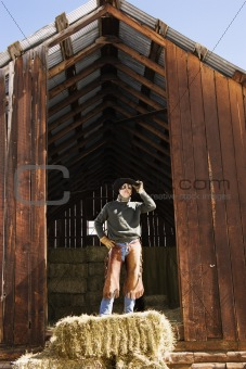Attractive Young Man Standing on a Bale of Hay