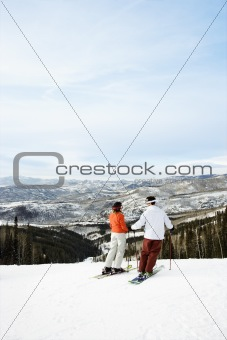 Skiers on Mountain Overlooking Valley