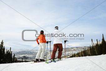 Skier Couple on Mountain