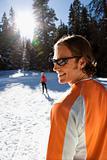 Man and Woman Snow Skiing