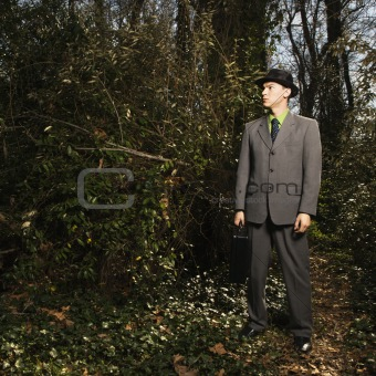 Young Businessman in Woods