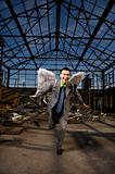 Businessman Wearing Angel Wings