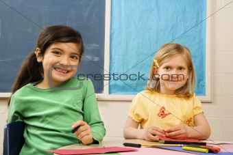 Two Girls in Classroom.