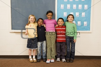 Students Standing in Classroom. 