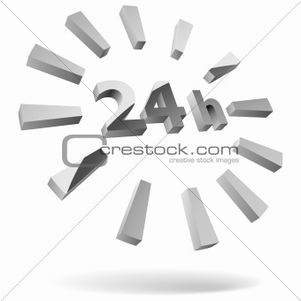 24 hours 3D icon