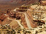 Winding Road on Rugged Desert Rock Formation