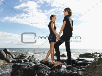 Attractive Young Couple on Rocks