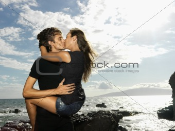 Attractive Young Couple Kissing