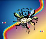 Disco Music Event Background with Retrò style and DJ shape