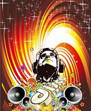 Disco Dance Event Background with Music Design Elements