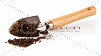 ground in the small shovel isolated