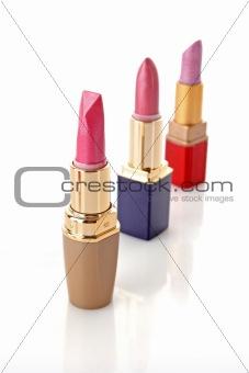 Three new lipsticks on the white background