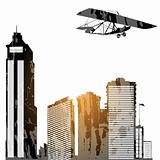 Plane and skyscrapes
