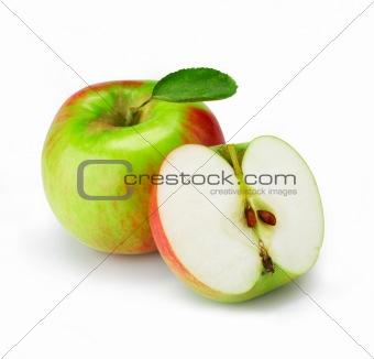 Fresh apple with half