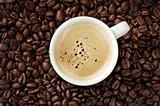 Cappucino on coffee beans