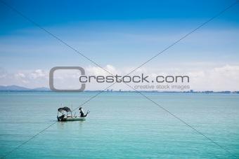 Fisherman under the work