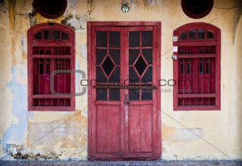 Old red door